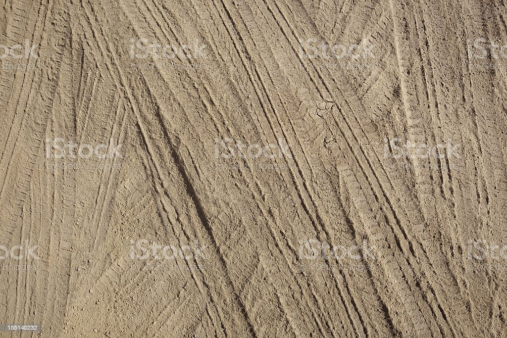 Tire Tracks in Dirt stock photo