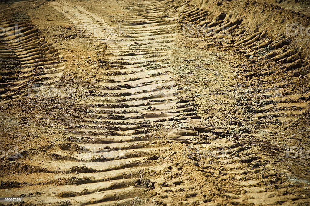 Tire Tracks in the Dirt royalty-free stock photo