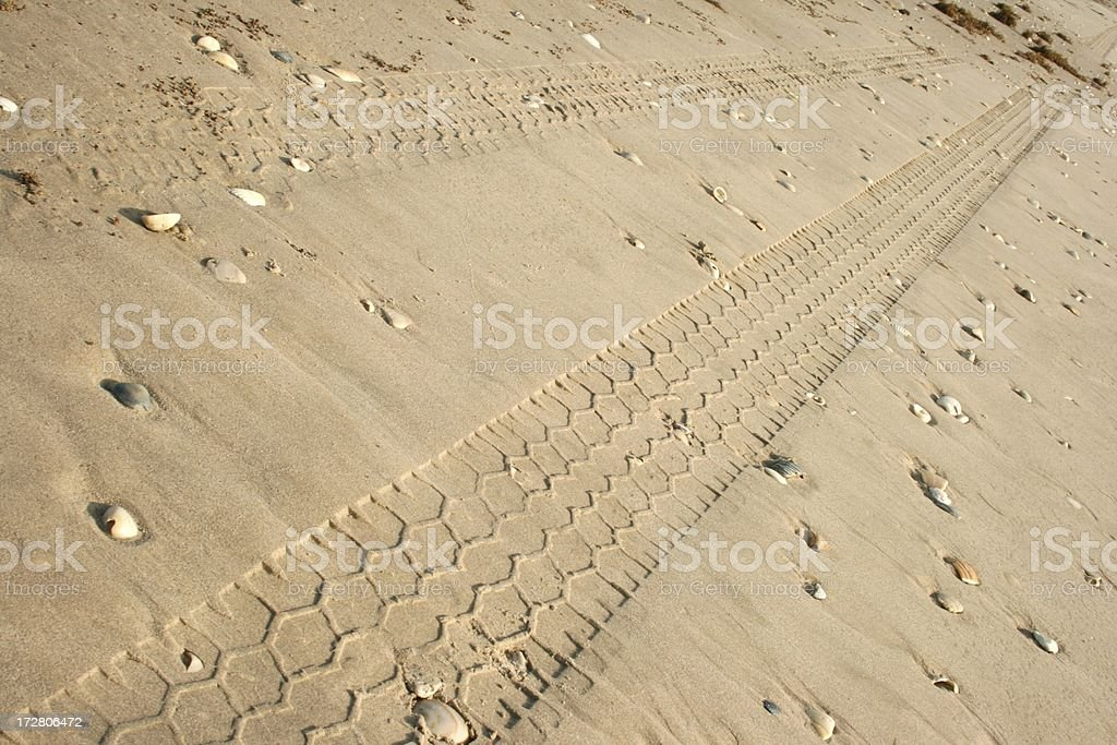 Tire Tracks Leading Down Beach royalty-free stock photo
