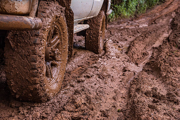 Tire tracks on a muddy road. Tire tracks on a muddy road in the countryside, Routing traffic in the countryside. mud stock pictures, royalty-free photos & images