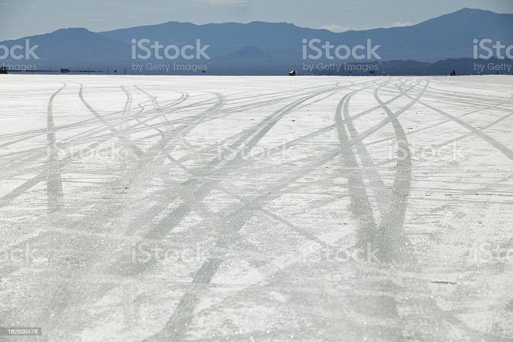 Tire tracks on the salt flats in UT stock photo
