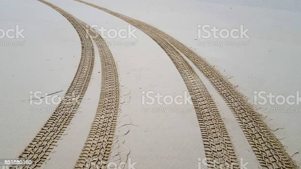 Photo of Tire tracks on the sand background