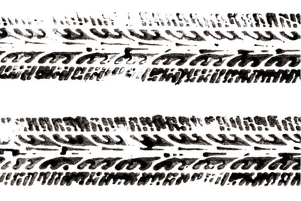 tire tracks tire tracks made with ink isolated on white tire track stock pictures, royalty-free photos & images