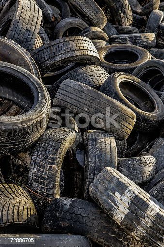 Tire trash texture. Old tyre recycling background.