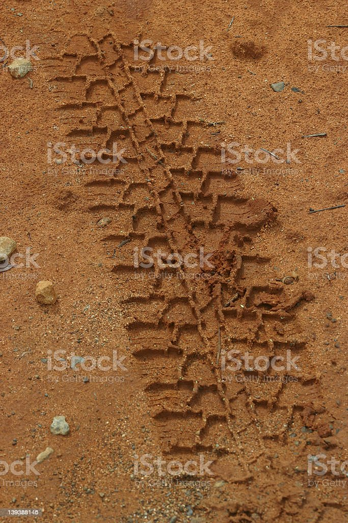 Tire / Tyre Tracks in Red Dirt stock photo