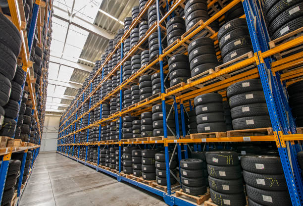Tire warehouse with high shelf stock photo