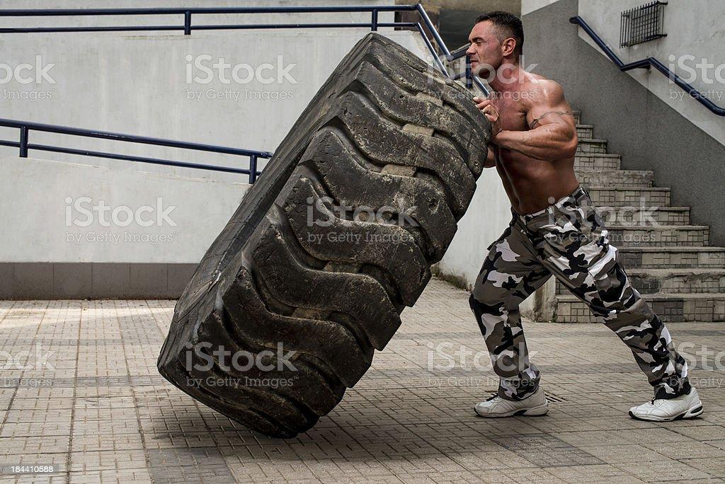Tire Workout stock photo