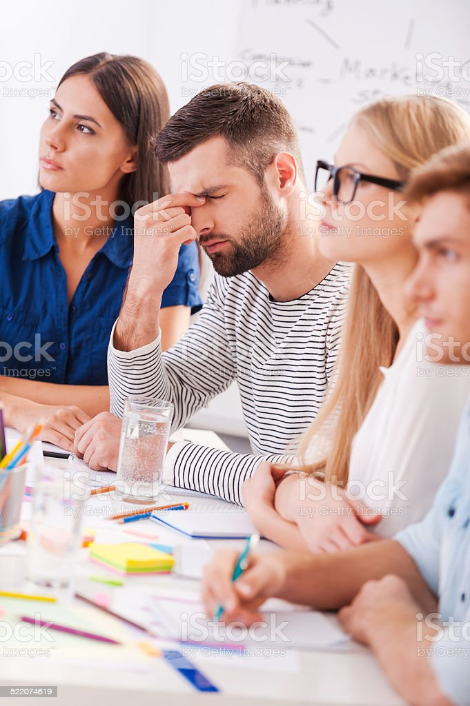 Tired and stressed. stock photo