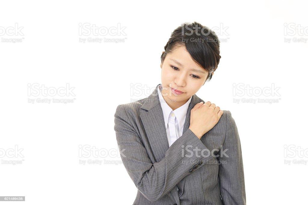 Müde asiatische Geschäftsfrau Lizenzfreies stock-foto