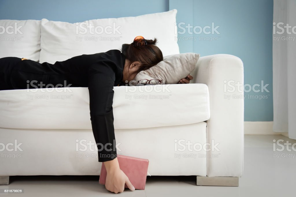 Tired Asian Business woman. stock photo