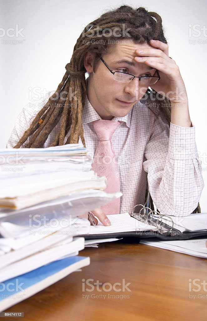 Tired at work royalty-free stock photo