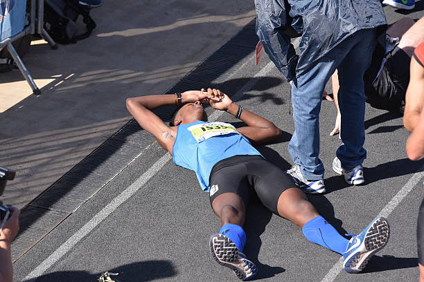 Tired athlete after the finish during the 2016 Athens Marathon stock photo