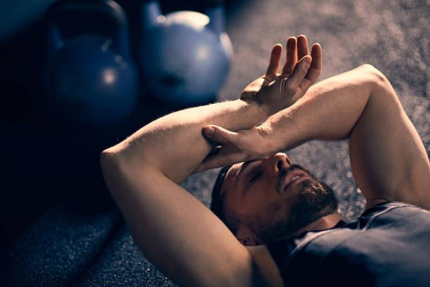 Tired athlete stock photo