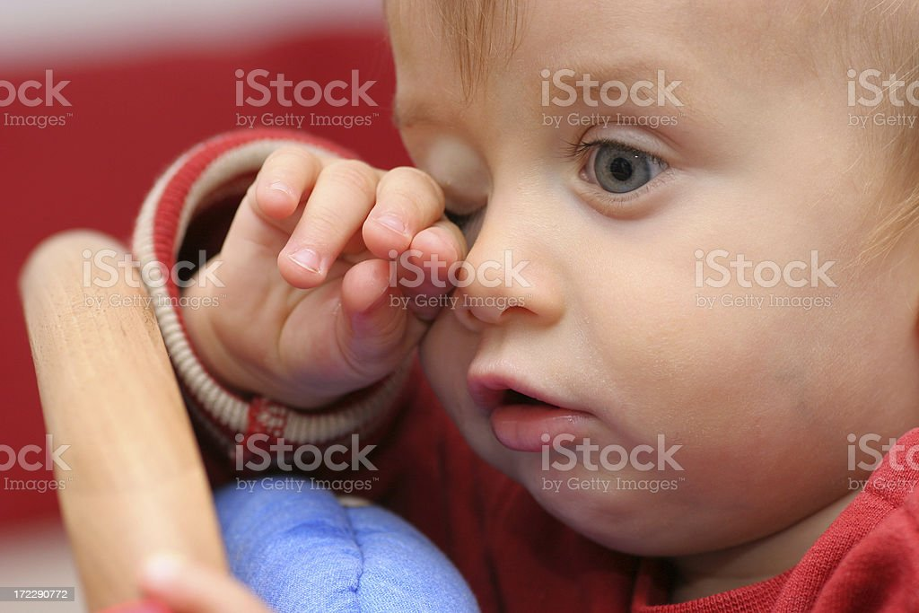 Tired boy crying royalty-free stock photo