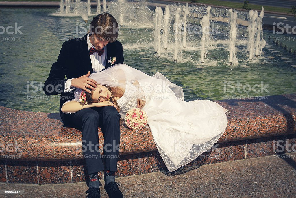 Tired bride and groom royalty-free stock photo