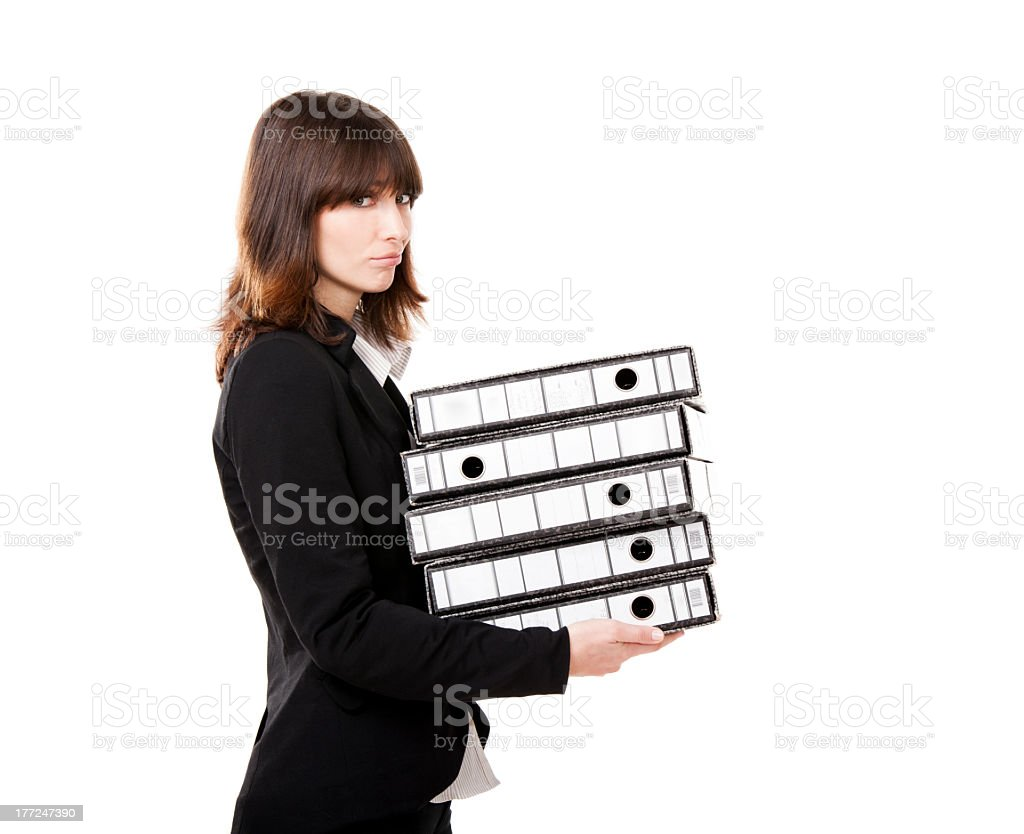 Tired business woman holding folders royalty-free stock photo