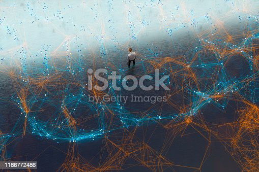 Tired businessman in complex network of lines. 3D generated image.