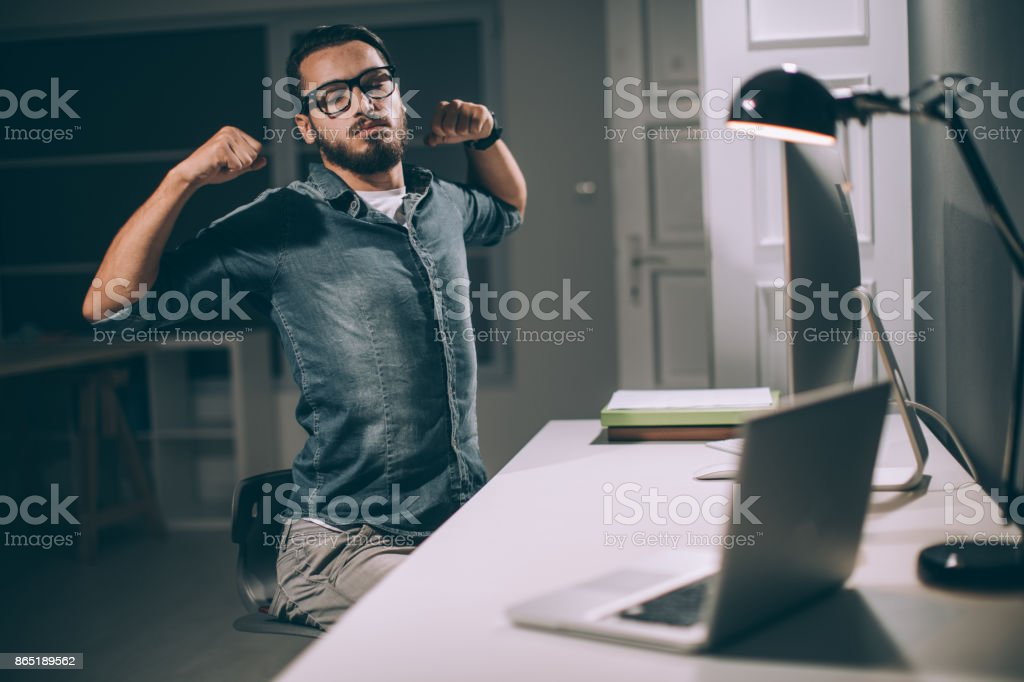 Tired businessman stock photo