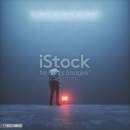 Tired businessman trying to get out. This is entirely 3D generated image.