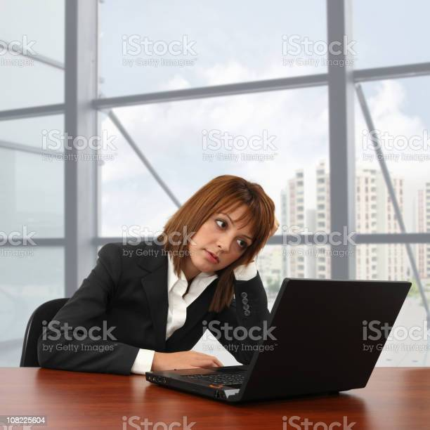 Tired Businesswoman Stock Photo - Download Image Now