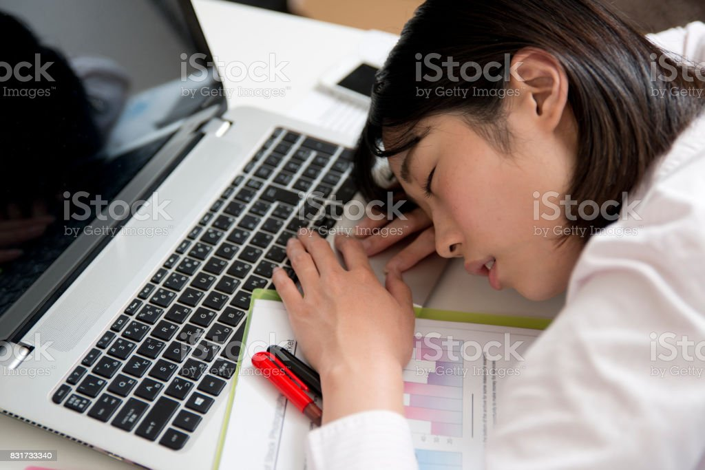 tired businesswoman stock photo