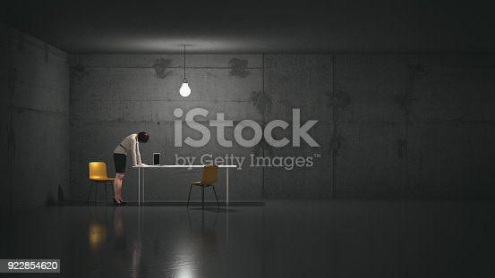 Tired businesswoman in a dark windowless office leaning on the desk. 3D render