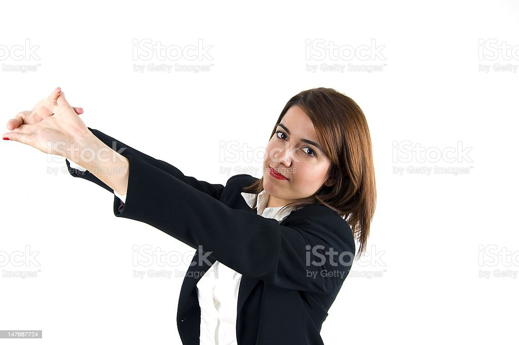Tired businesswoman stretching royalty-free stock photo