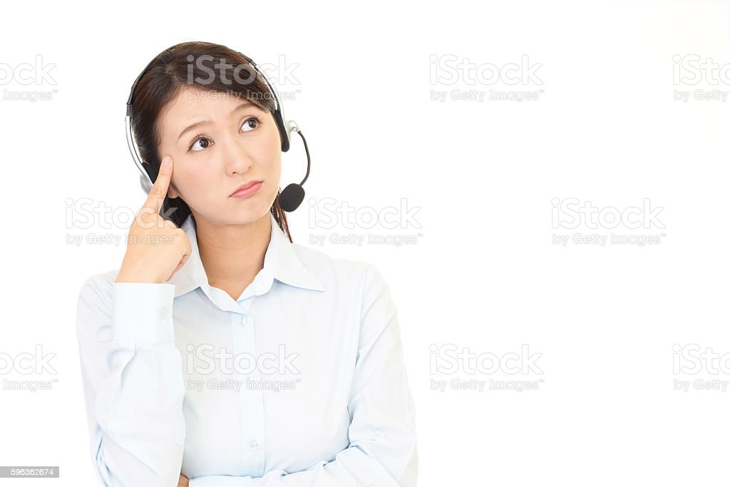 Tired call center operator royalty-free stock photo