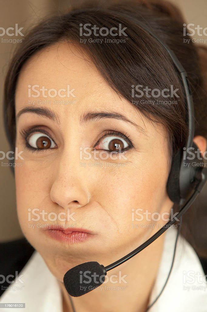 Tired Call Centre female worker royalty-free stock photo
