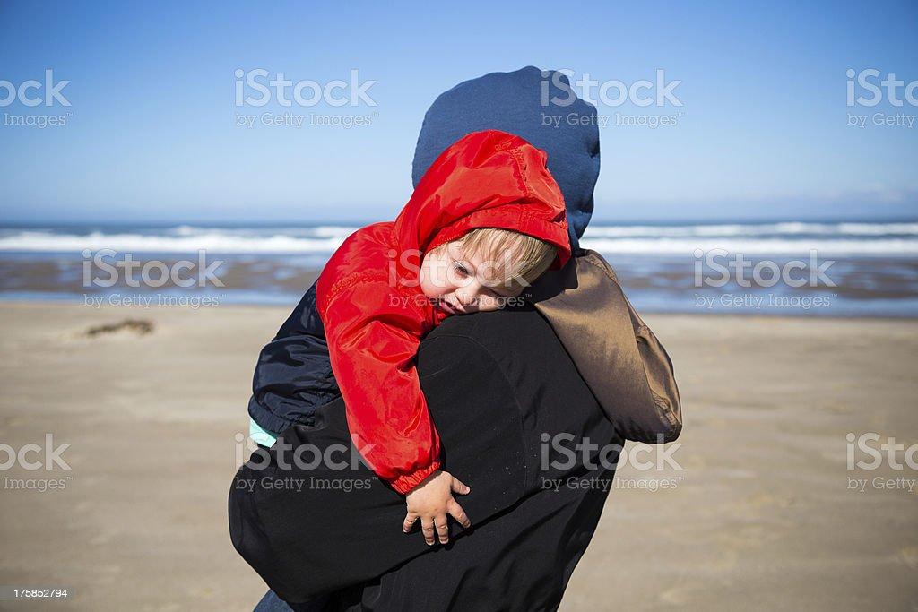 Tired Child at Coast royalty-free stock photo