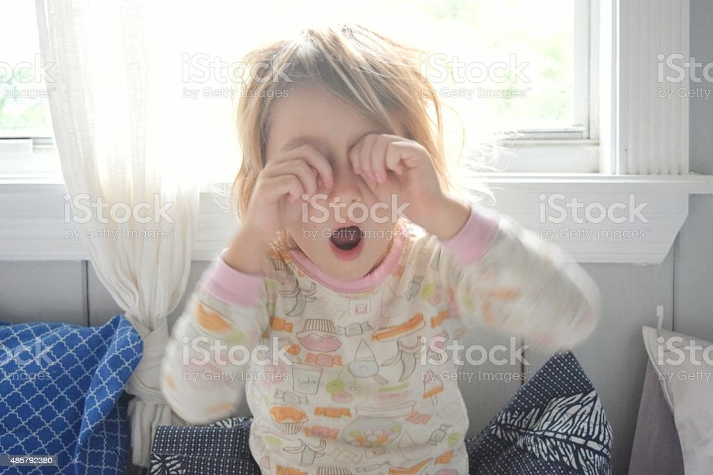Tired child stock photo