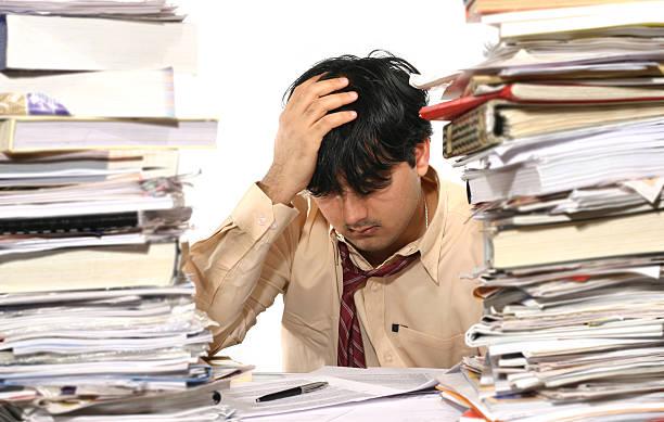 Tired Clerk 4 stock photo
