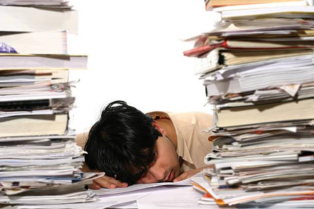 Tired Clerk 6 stock photo