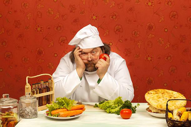stanco di cook - chef triste foto e immagini stock