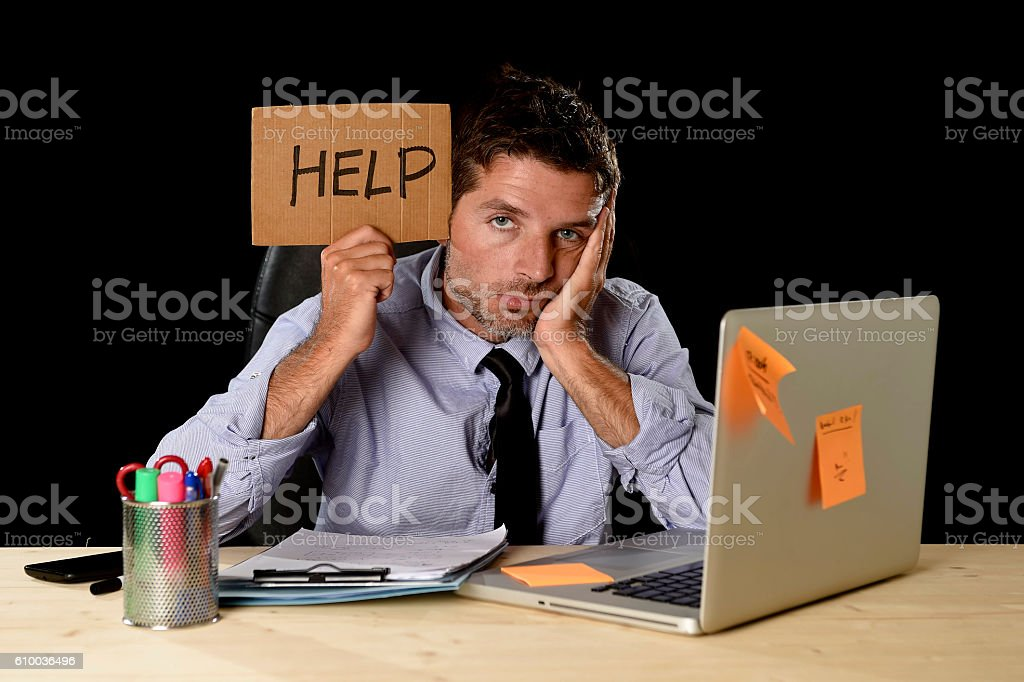 tired desperate businessman in office stress working asking for help – Foto