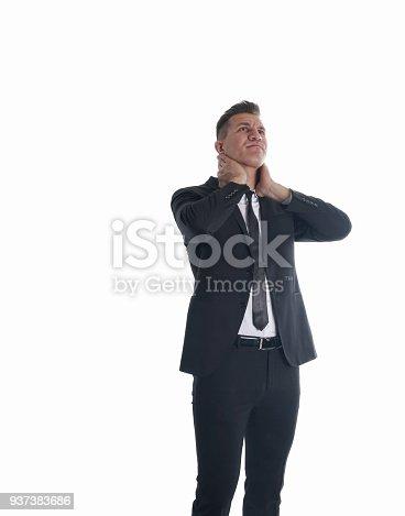 istock Tired employee business man 937383686