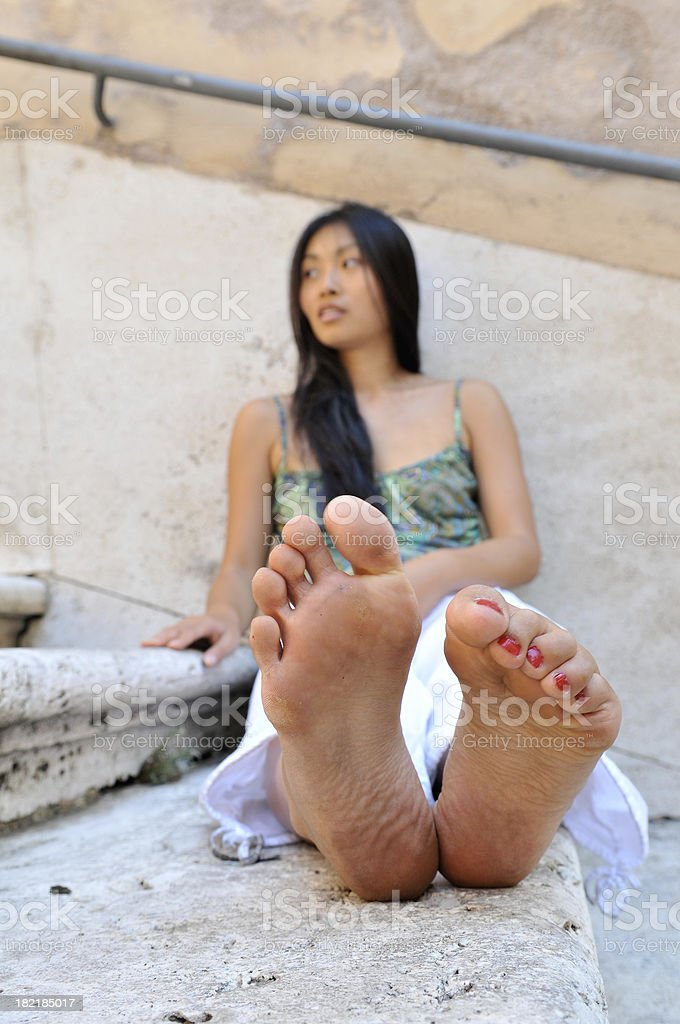 Tired feet stock photo