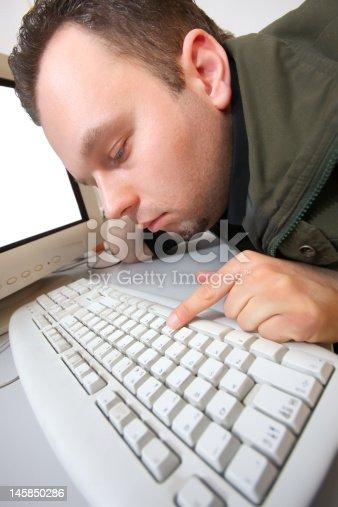 593328060 istock photo Tired hacker 145850286