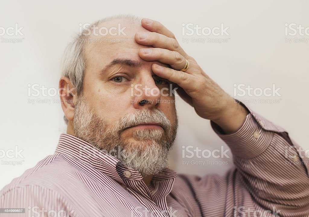 Tired Headache Senior Adult Businessman royalty-free stock photo