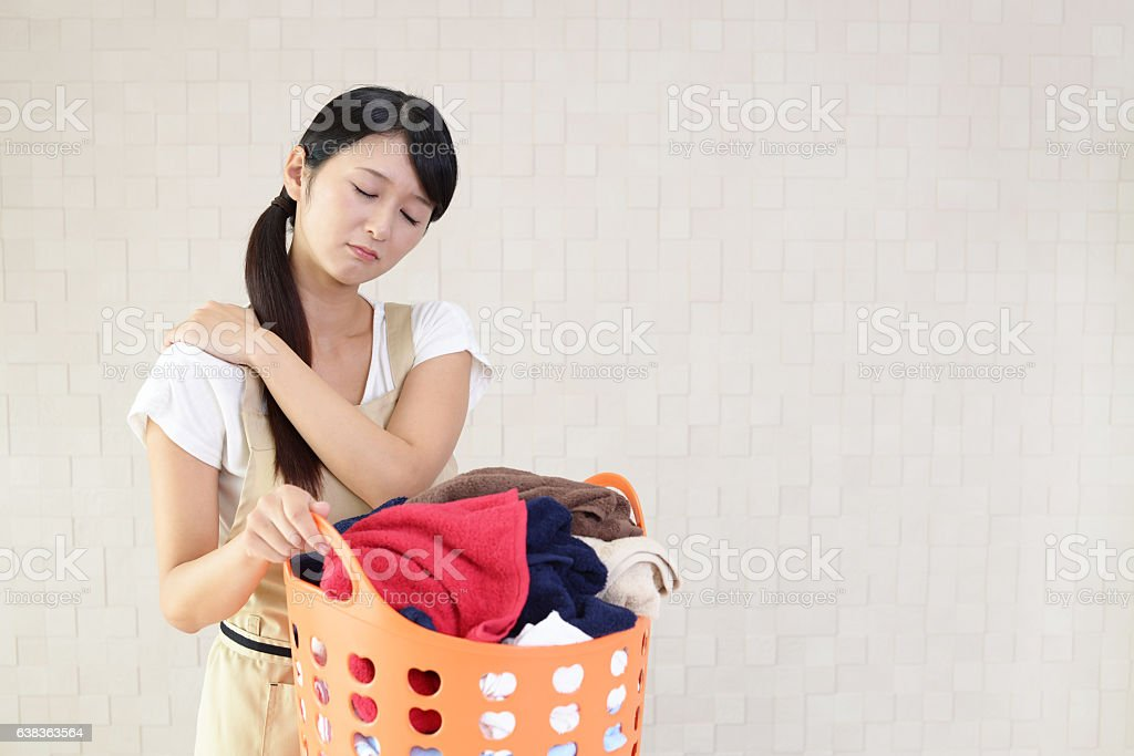 Tired housewife stock photo