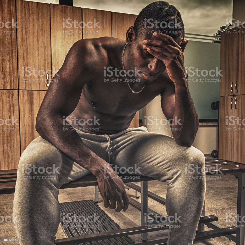 Tired Man after have lost the game on gym royalty-free stock photo