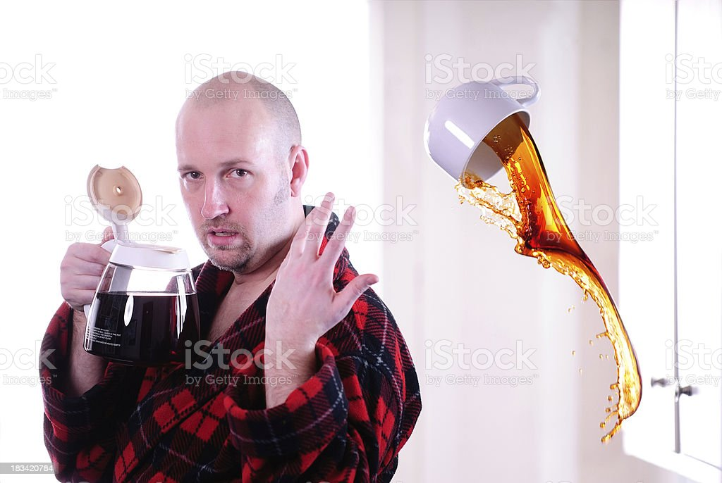 Tired Man Desperate for Coffee stock photo