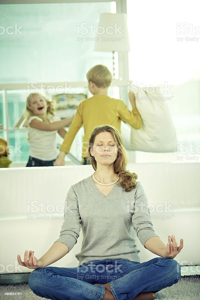 Tired mother royalty-free stock photo