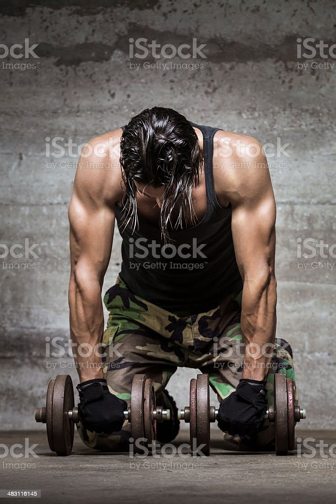 tired muscle athlete stock photo