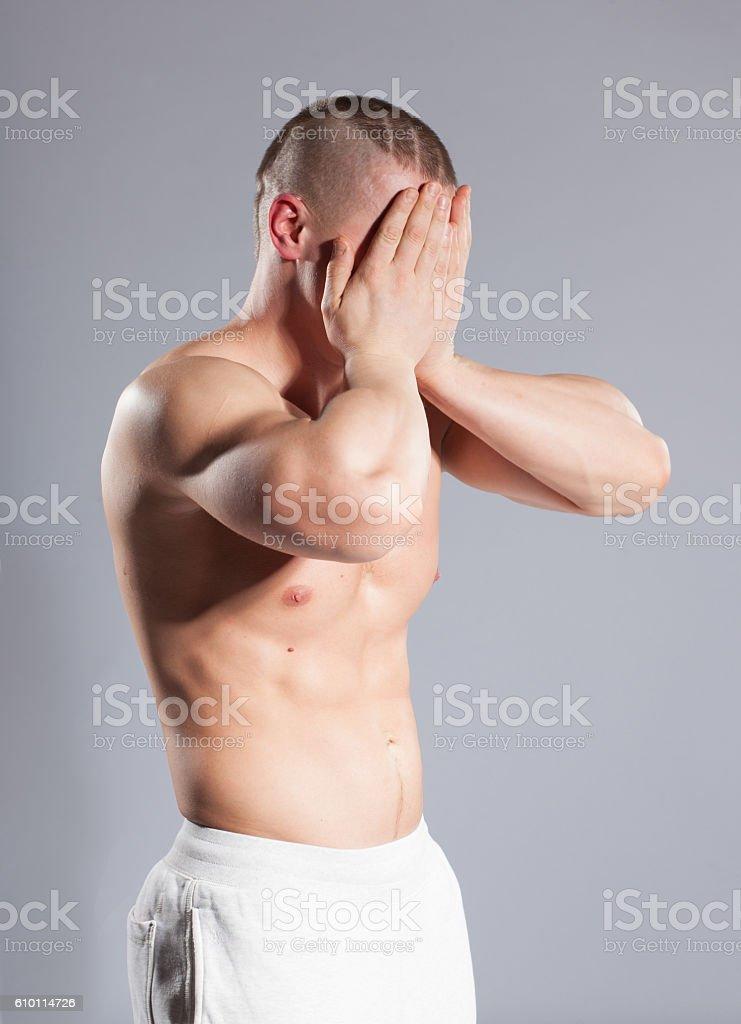 tired muscular man stock photo