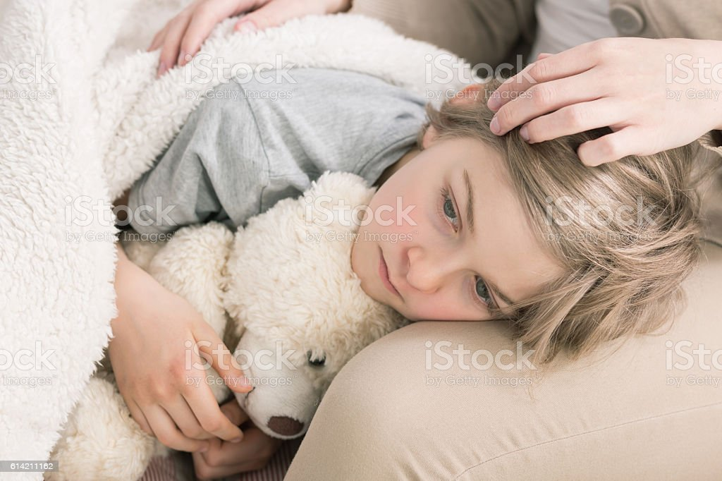 Tired of being sick stock photo