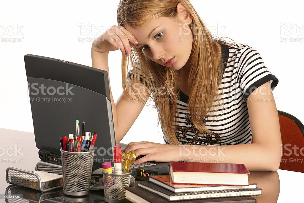 Tired of studying stock photo
