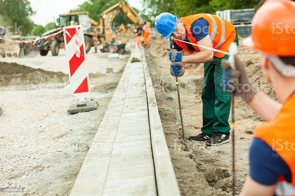 Müde road construction worker - Lizenzfrei Arbeiten Stock-Foto
