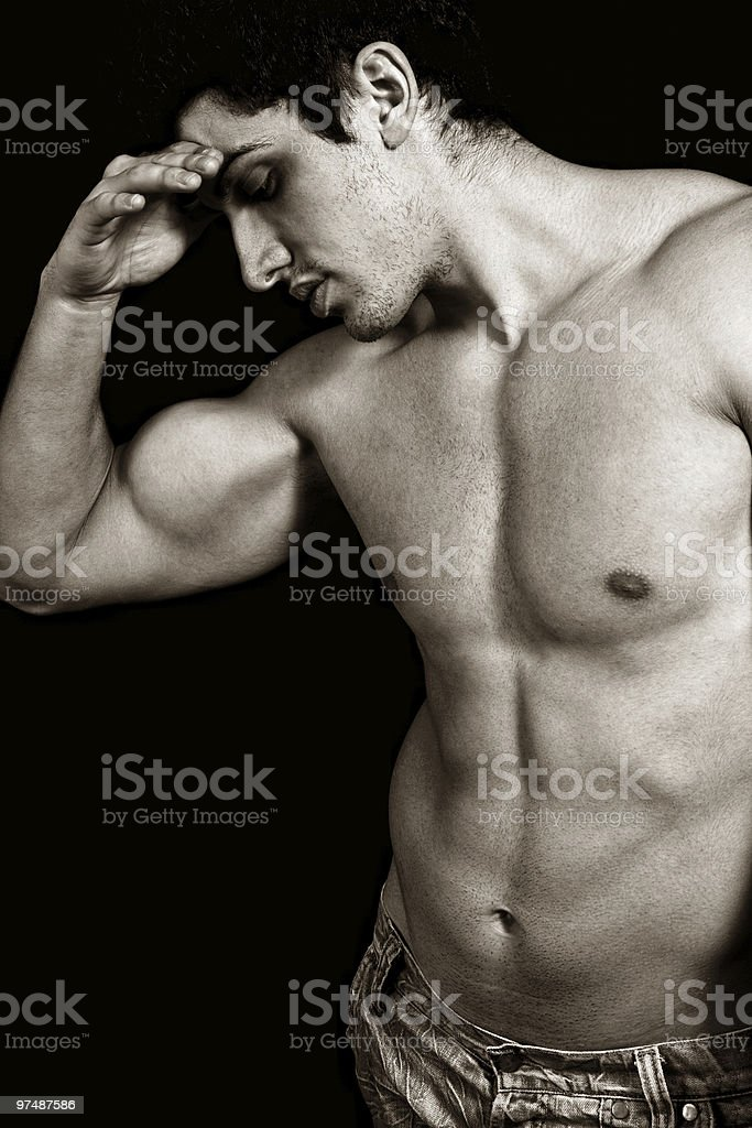 Tired sad weary male bodybuilder royalty-free stock photo