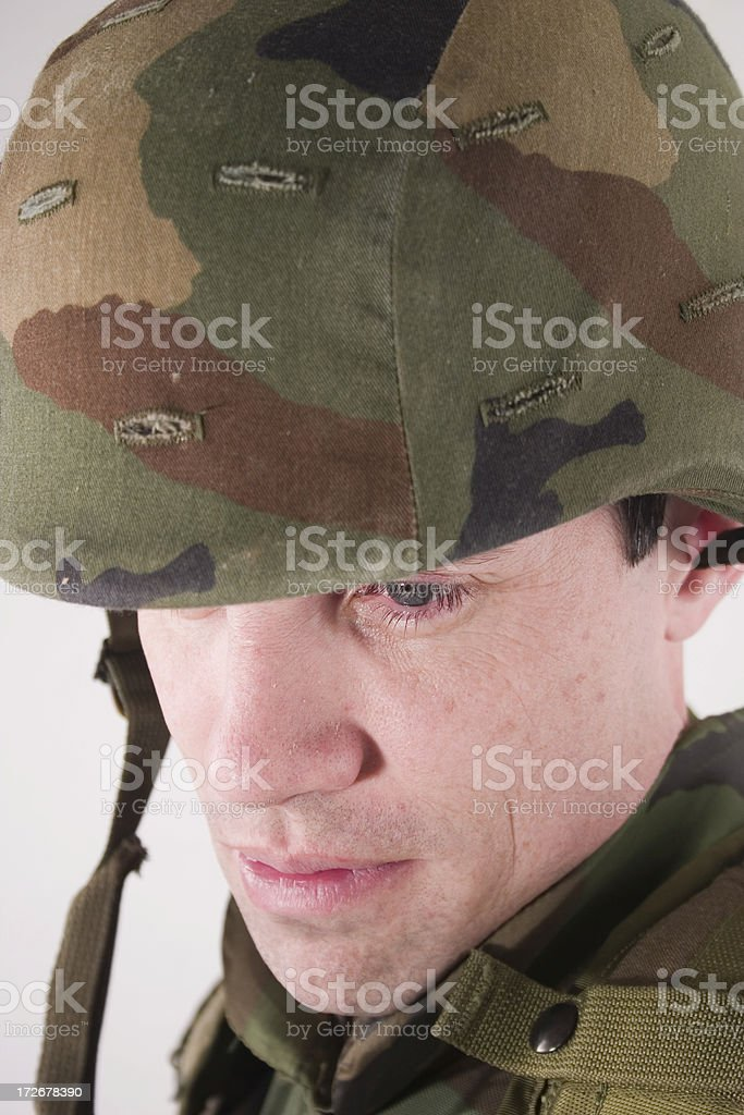 tired soldier face royalty-free stock photo